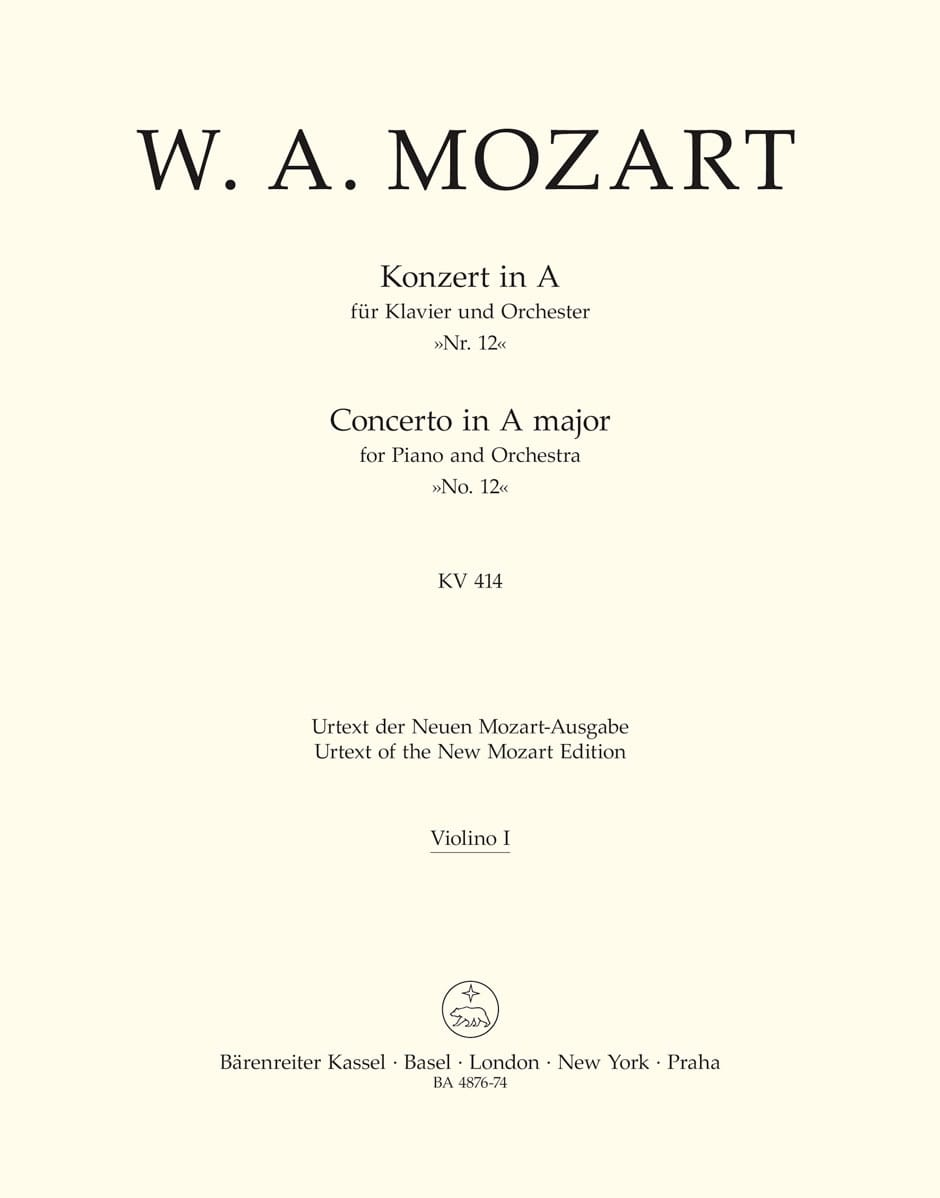 Klavierkonzert Nr. 12 A-Dur KV 414 - Matériel Complet - laflutedepan.com