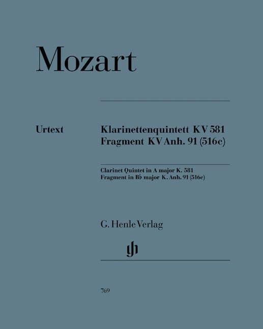 Quintette avec clarinette en La majeur K. 581 et fragment K. Anh. 91 516c - laflutedepan.com