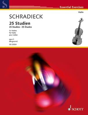 25 Etudes, op. 1 - Violon Henry Schradieck Partition laflutedepan