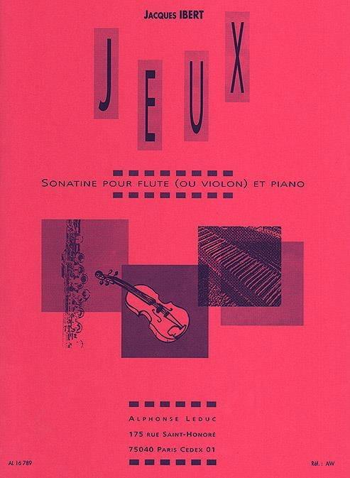 Jeux - Flûte violon piano - IBERT - Partition - laflutedepan.com