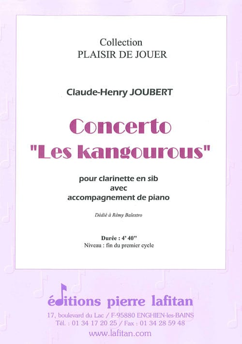 Concerto Les Kangourous - Claude-Henry Joubert - laflutedepan.com