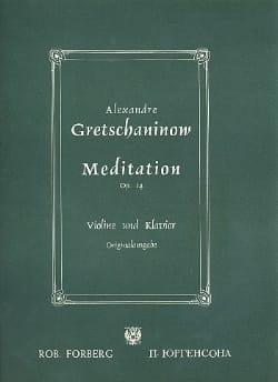 Méditation op. 14 Alexandre Gretchaninov Partition laflutedepan