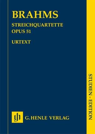 2 Quatuors à cordes op. 51 BRAHMS Partition laflutedepan