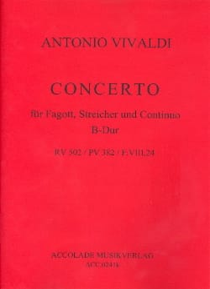 Concerto En Sib Maj. - F. 8 n° 24 Pour Bassson VIVALDI laflutedepan