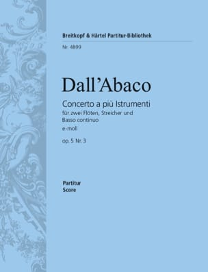 Concerto e-Moll op. 5 n° 3 - DALL'ABACO - Partition - laflutedepan.com
