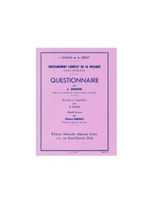 Questionnaire - Cours Supérieur L. et Gruet A. Donne laflutedepan