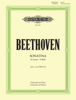 Sonatina D minor BEETHOVEN Partition Violoncelle - laflutedepan