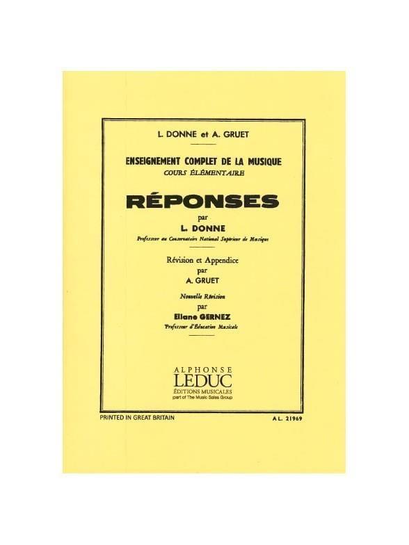 Reponses - Cours Elémentaire - L. et Gruet A. Donne - laflutedepan.com