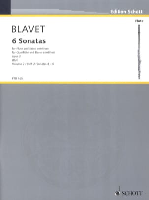 6 Sonates Opus 2 - Volume 2 Michel Blavet Partition laflutedepan