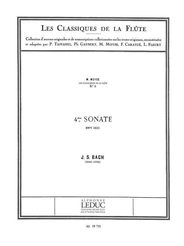 Sonate n° 4 do majeur BWV 1033 - Flûte piano - BACH - laflutedepan.com