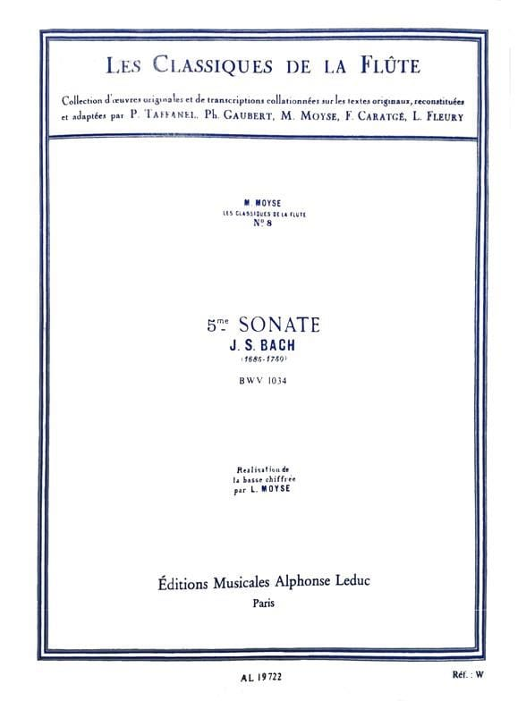 Sonate n° 5 mi mineur BWV 1034 - BACH - Partition - laflutedepan.com