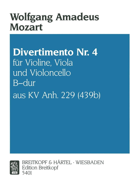 Divertimento 4 B-Dur - MOZART - Partition - laflutedepan.com