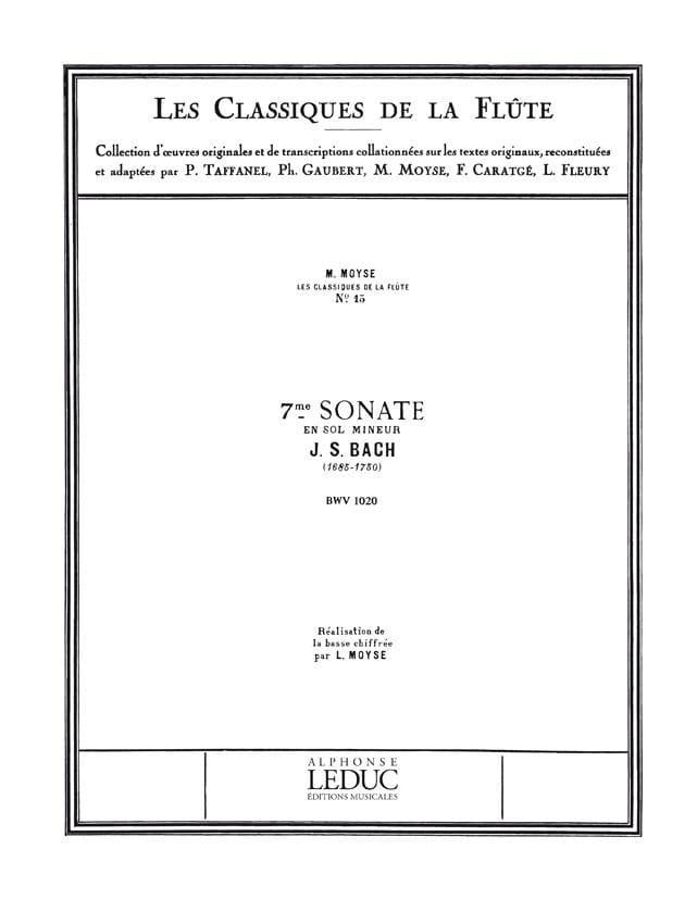 Sonate n° 7 en sol mineur BWV 1020 - Flûte piano - laflutedepan.com