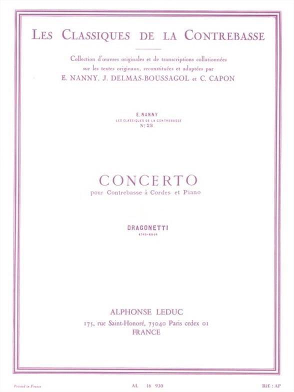 Concerto - Domenico Dragonetti - Partition - laflutedepan.com