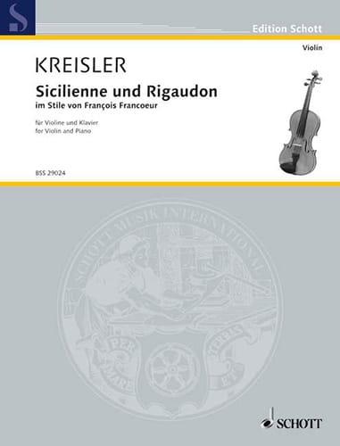 Sicilienne et Rigaudon - KREISLER - Partition - laflutedepan.com