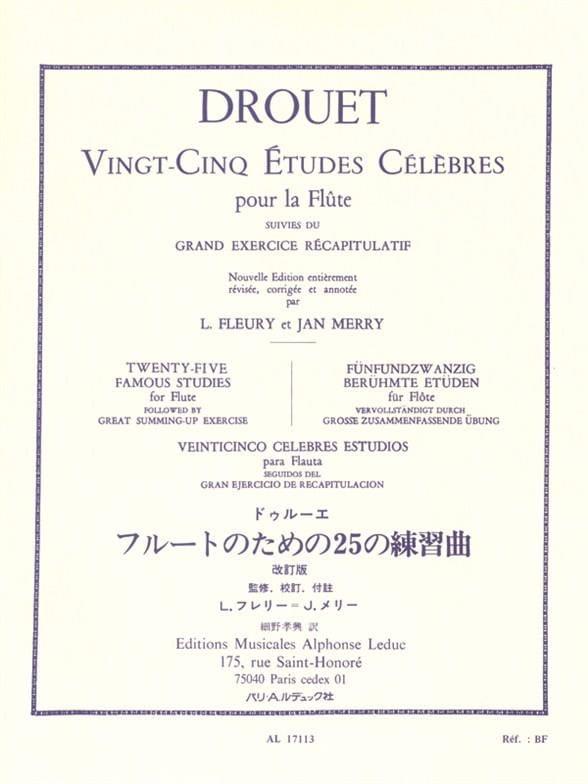 25 Etudes célèbres - Flûte - Louis Drouet - laflutedepan.com