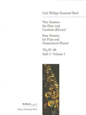 4 Sonaten - Heft 1 : Wq 83-84 - Flöte Cembalo laflutedepan