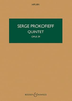 Quintet op. 39 - Score PROKOFIEV Partition Petit format - laflutedepan