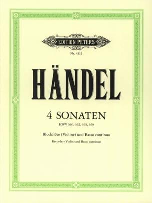 4 Sonaten - Blockflöte Violine u. Bc HAENDEL Partition laflutedepan