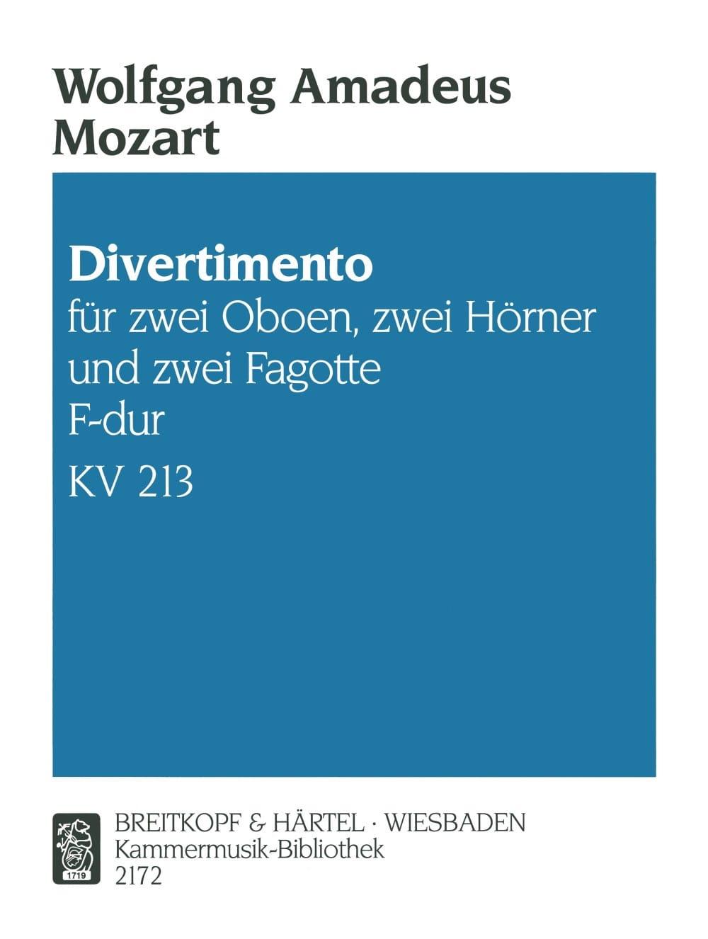 Divertimento F-Dur KV 213 -Bläsersextett - Stimmen - laflutedepan.com
