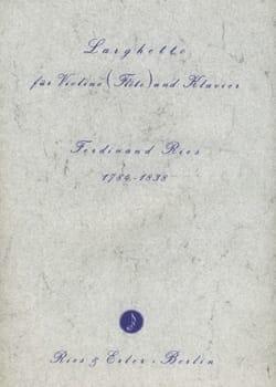 Larghetto Ferdinand Ries Partition Violon - laflutedepan