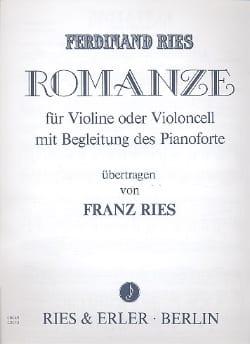 Romanze Ferdinand Ries Partition Violon - laflutedepan