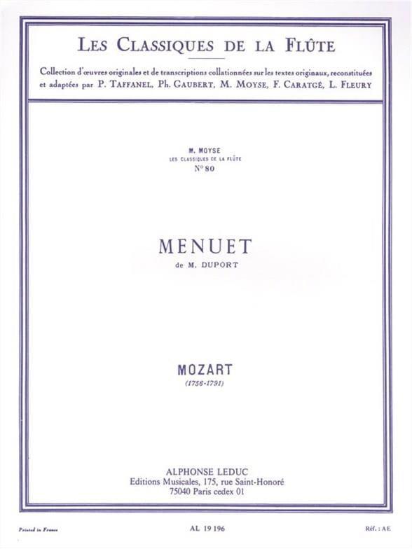 Menuet de M. Duport - Flûte piano - MOZART - laflutedepan.com