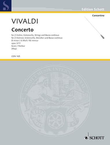 Concerto op. 3 n° 11, RV 565 d-moll für 2 Violinen, Cello - Partitur - laflutedepan.com
