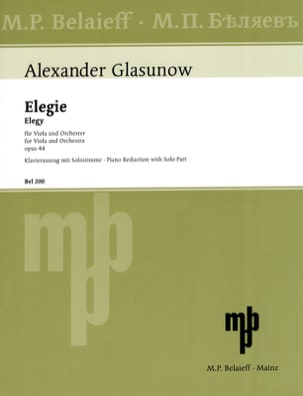 Elégie op. 44 Alexandre Glazounov Partition Alto - laflutedepan