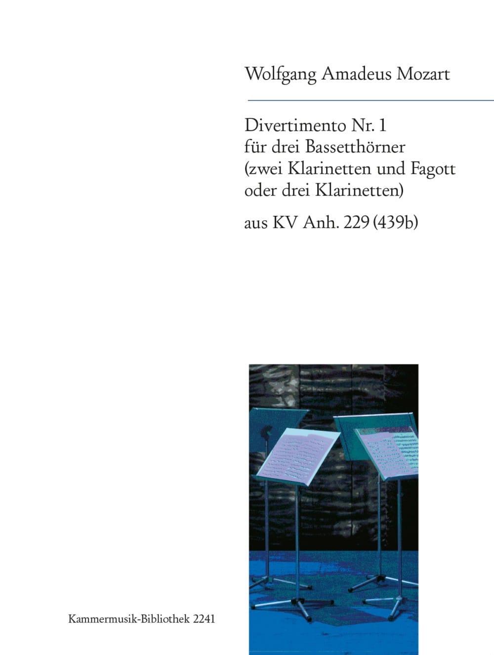 Divertimento Nr. 1 -3 Bassetthörner 2 Klar. Fag. / 3 Klar. - laflutedepan.com