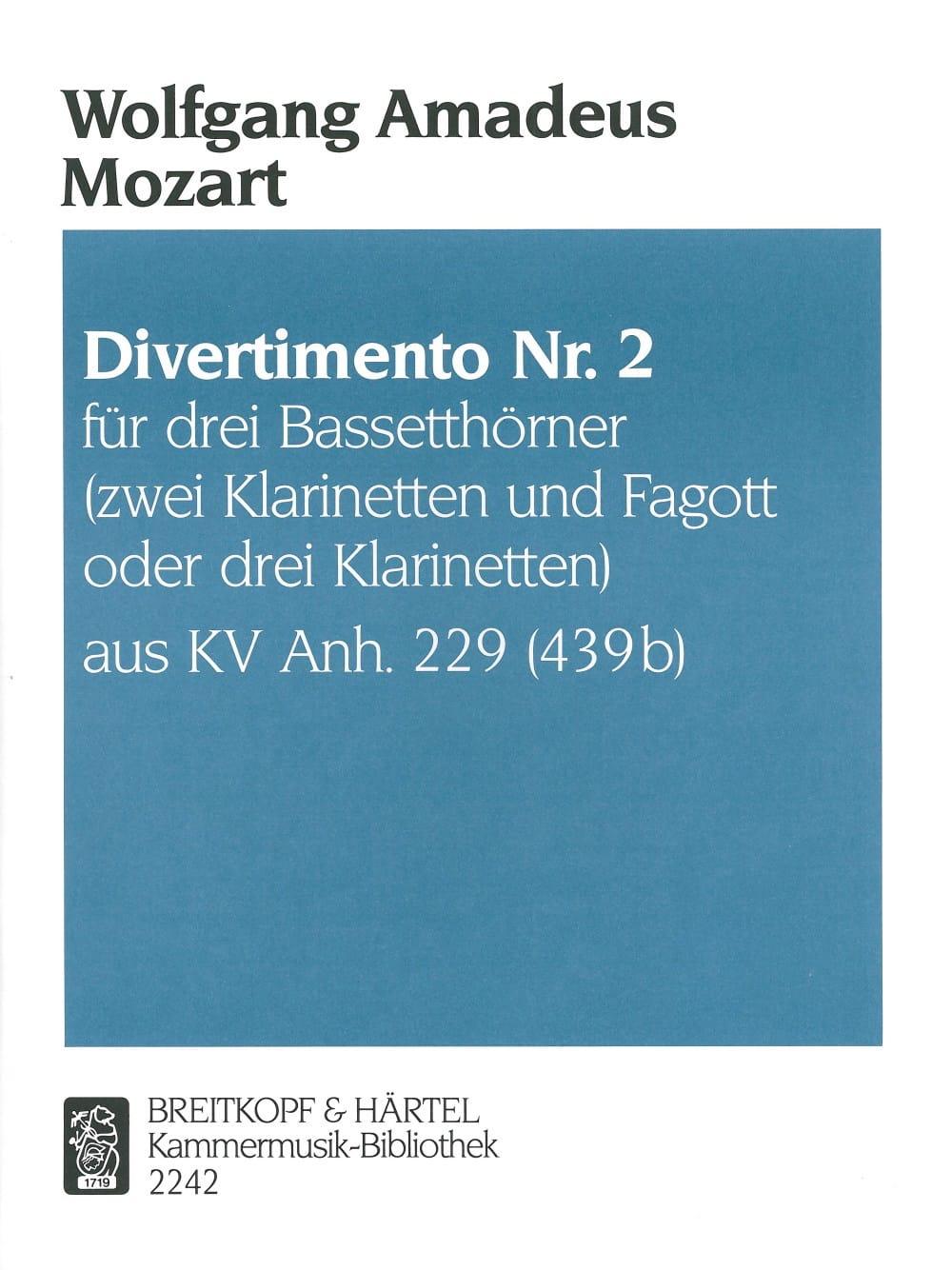 Divertimento Nr. 2 -3 Bassetthörner 2 Klar. Fag. / 3 Klar. - laflutedepan.com