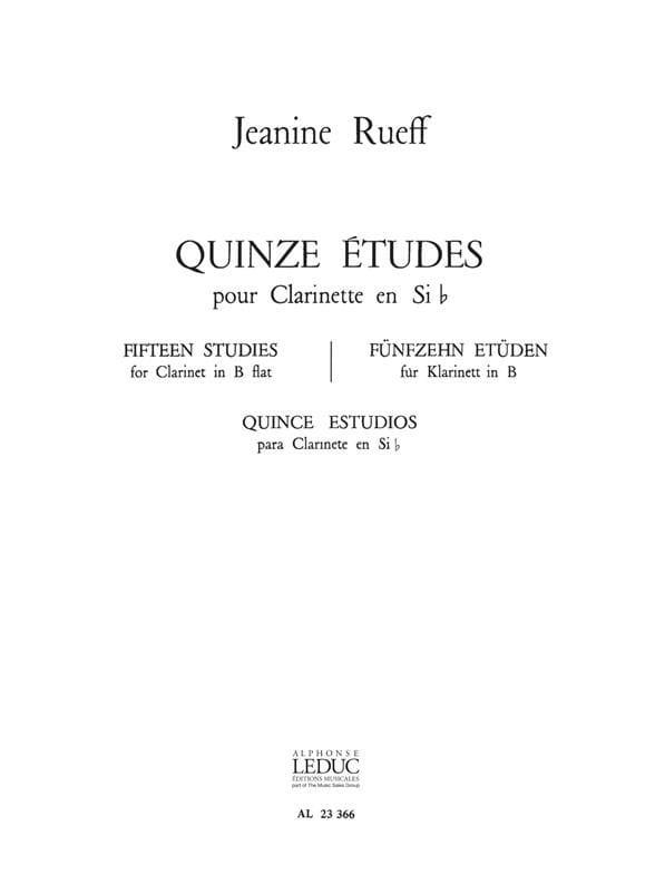 15 Etudes - Jeanine Rueff - Partition - Clarinette - laflutedepan.com