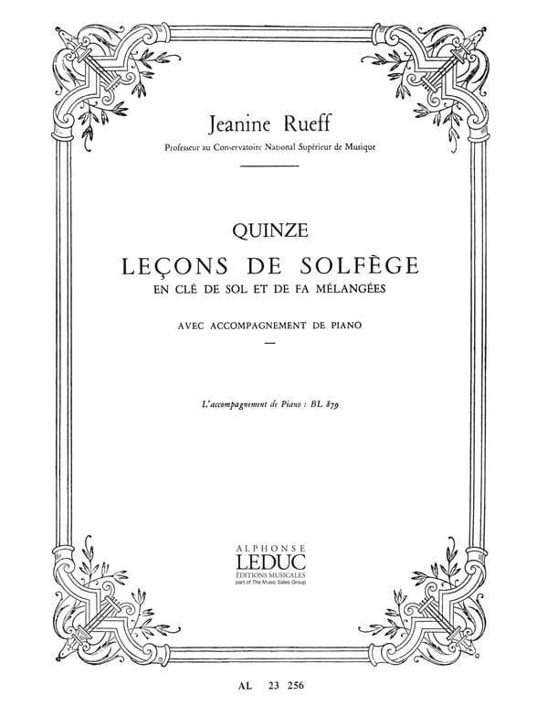 15 Lecons de solfège - Accomp. - Jeanine Rueff - laflutedepan.com
