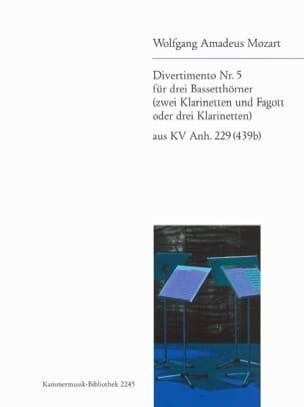 Divertimento N° 5 - 3 Bassetthörner 2 Klar. Fag. / 3 Klar. - laflutedepan.com