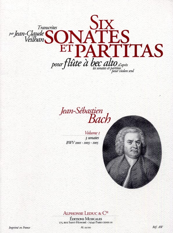 6 Sonates et Partitas - vol 1 -flûte à bec alto - laflutedepan.com