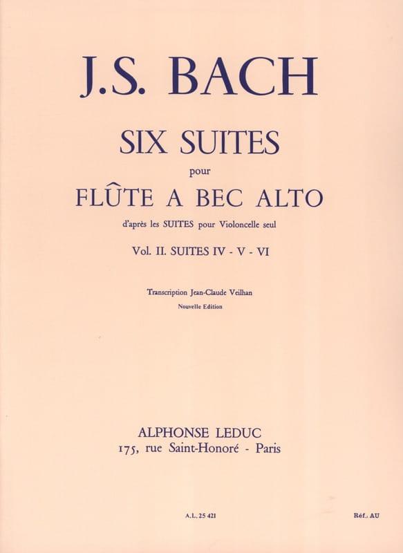 6 Suites - Volume 2 - flûte à bec alto - BACH - laflutedepan.com