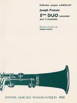 5ème Duo concertant pour 2 clarinettes Joseph Pranzer laflutedepan