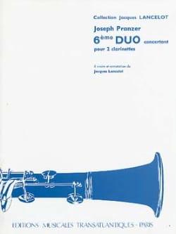 6ème Duo pour 2 clarinettes Joseph Pranzer Partition laflutedepan