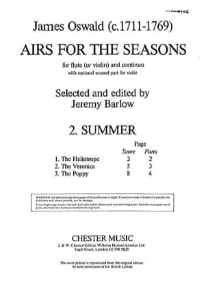 Airs For The Seasons Summer - Flûte et Piano James Oswald laflutedepan