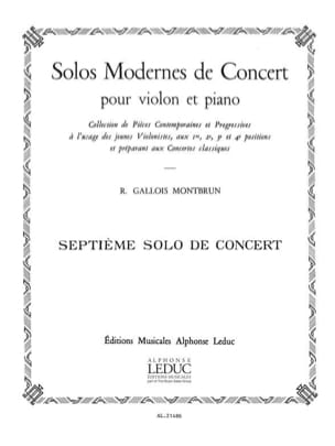 Solo de Concert n° 7 Raymond Gallois-Montbrun Partition laflutedepan