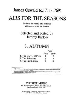 Airs for the Seasons 3. Autumn James Oswald Partition laflutedepan
