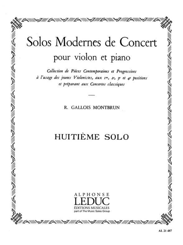 Solo de Concert n° 8 - Raymond Gallois-Montbrun - laflutedepan.com