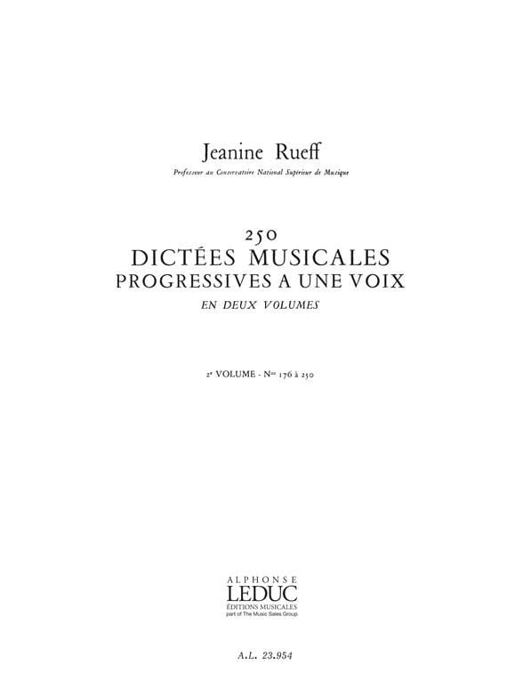 250 Dictées musicales - Volume 2 - Jeanine Rueff - laflutedepan.com