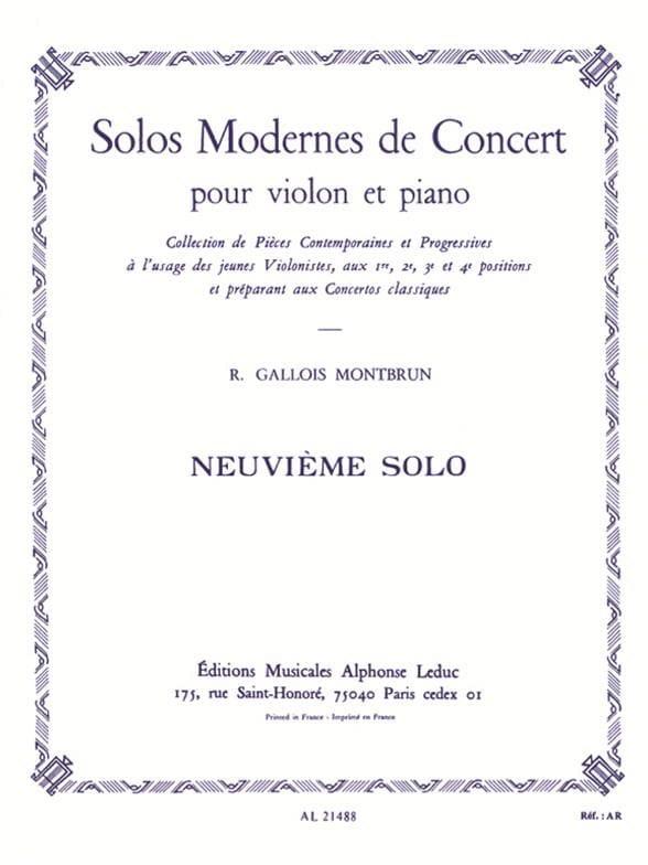 Solo de Concert n° 9 - Raymond Gallois-Montbrun - laflutedepan.com