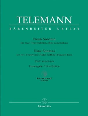 9 Sonaten TWV 40: 141-149 - 2 Flöten TELEMANN Partition laflutedepan