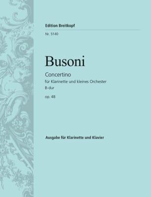 Concertino B-Dur op. 48 - clarinette BUSONI Partition laflutedepan
