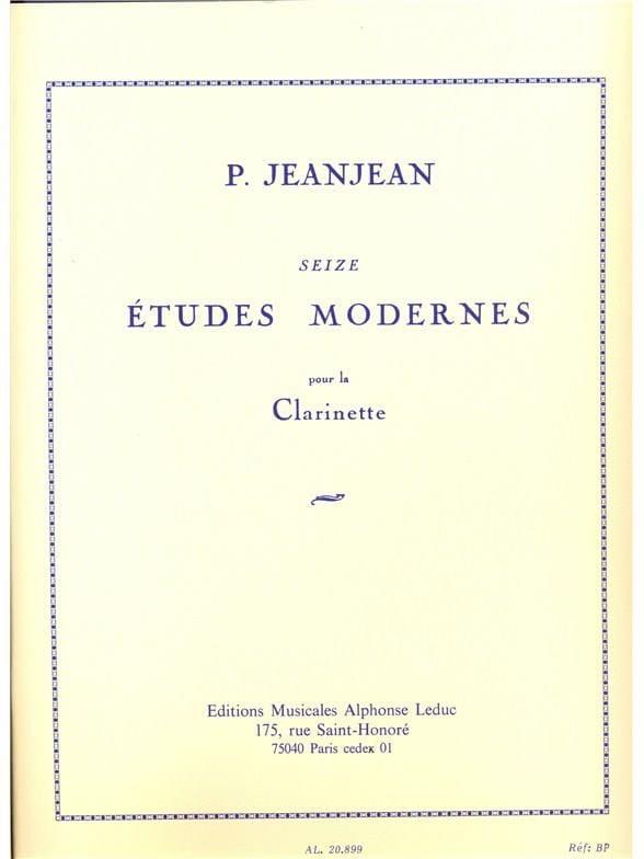 16 Etudes modernes - Paul Jeanjean - Partition - laflutedepan.com