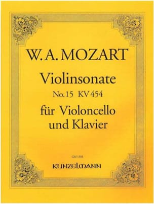 Sonate n°15 - KV 454 MOZART Partition Violoncelle - laflutedepan