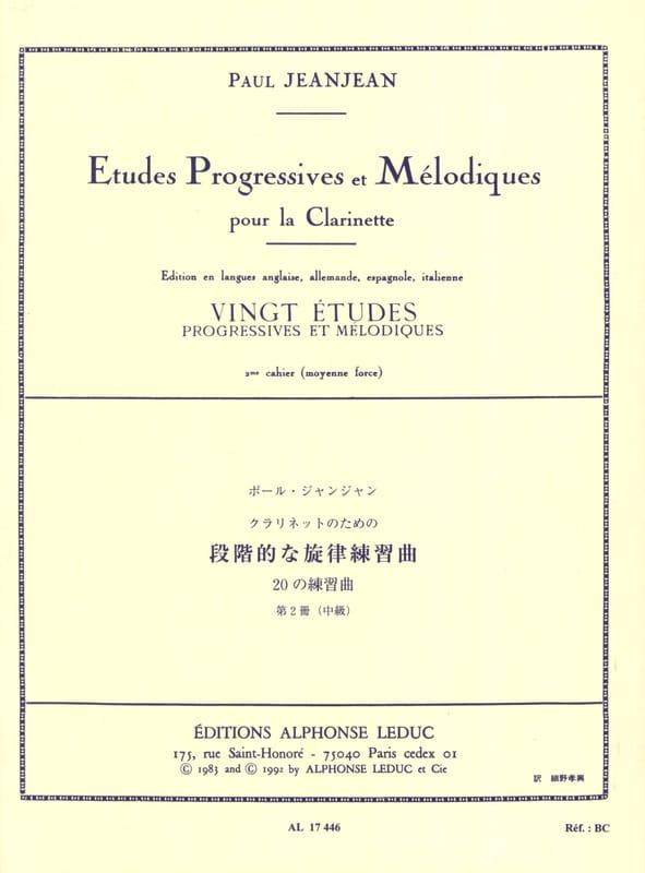 20 Etudes progressives - Volume 2 - Paul Jeanjean - laflutedepan.com