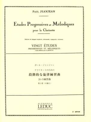 20 Etudes progressives - Volume 3 Paul Jeanjean Partition laflutedepan